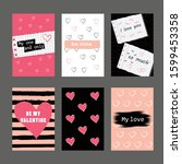 vector set of valentine s day... | Shutterstock .eps vector #1599453358