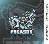 pegasus mascot logo design... | Shutterstock .eps vector #1599502492