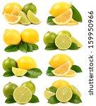 lime and lemon on white...