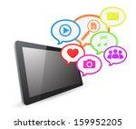 tablet computer social media... | Shutterstock .eps vector #159952205