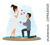 marriage proposal. couple in... | Shutterstock .eps vector #1599630535