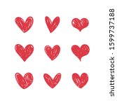 heart doodles collection. set... | Shutterstock .eps vector #1599737188