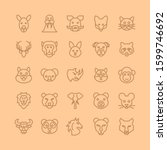 animals head line icon set....