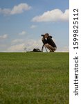 Small photo of Hadleigh, Essex, England - December 28 2019 - An photographer photographing in Essex