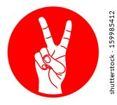 hand with victory sign red on...   Shutterstock . vector #159985412