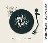 vector music poster with vinyl...   Shutterstock .eps vector #1599921355