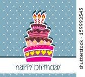 happy birthday cake card vector ... | Shutterstock .eps vector #159993545