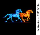 Raster version. Red and blue fire horses on black background.  - stock photo