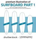 blank surfboards template  part ...   Shutterstock .eps vector #159996992