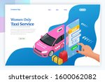 women only taxi service concept.... | Shutterstock .eps vector #1600062082