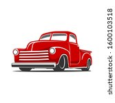 Red Old Truck Vector Flat Colors