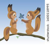 squirrel boy gives a blue... | Shutterstock .eps vector #1600118995