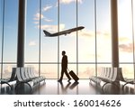 young man in airport and... | Shutterstock . vector #160014626