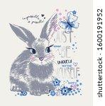 cute sweet hand drawn rabbit...   Shutterstock .eps vector #1600191952