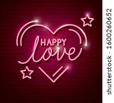 happy love with heart and stars ... | Shutterstock .eps vector #1600260652