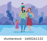parents with sons in the park... | Shutterstock .eps vector #1600261132