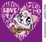 cute cat t shirt graphics cute... | Shutterstock .eps vector #160027982