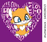 cute cat t shirt graphics cute... | Shutterstock .eps vector #160028015