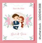 cute cartoon couple for wedding ... | Shutterstock .eps vector #1600404388