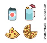 simple drink and pizza icon...