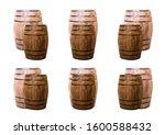 set of brown oak barrels on a... | Shutterstock . vector #1600588432
