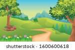 vector landscape with green... | Shutterstock .eps vector #1600600618