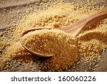 brown sugar heap and wooden... | Shutterstock . vector #160060226