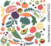 healthy foods to eat everyday... | Shutterstock .eps vector #1600647322