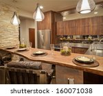 Stock photo kitchen in luxury home 160071038