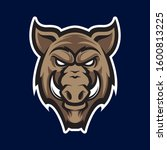 wild hog head mascot  colored... | Shutterstock .eps vector #1600813225