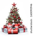 Small photo of Decorated Christmas tree and gifts on white background