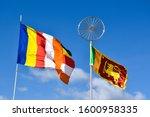 Waving Colorful Buddhist Flag...