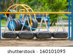 Swinging Road Of Old Tires On...