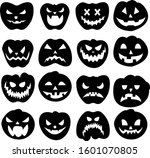 silhouete sticker of halloween... | Shutterstock .eps vector #1601070805