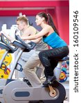 group of two people in the gym  ... | Shutterstock . vector #160109546