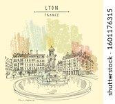 fountain in lyon  france ... | Shutterstock .eps vector #1601176315