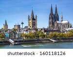 Small photo of Cologne, Germany aerial view over the Rhine River.
