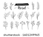 beautiful flower foliage line...   Shutterstock .eps vector #1601249965