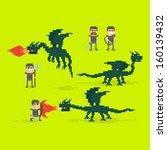 Pixel Art Warriors And Flying...