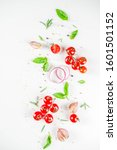 flatlay with greens  herbs and... | Shutterstock . vector #1601501152