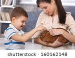 young mum and happy little boy... | Shutterstock . vector #160162148