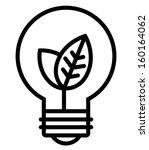 Ecology light bulb vector icon - stock vector