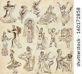 dancing people around the world ... | Shutterstock . vector #160172858