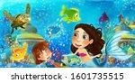 cartoon ocean and the mermaid...   Shutterstock . vector #1601735515