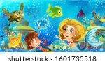 cartoon ocean and the mermaid...   Shutterstock . vector #1601735518