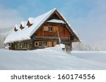 Old  Wooden  Snowy Ski Lodge I...