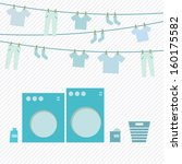 Laundry day, washing machine and cloth on hanger, vector illustration