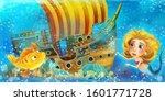 cartoon ocean scene and the...   Shutterstock . vector #1601771728