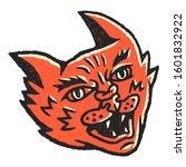 cat face. cat face dirty art... | Shutterstock .eps vector #1601832922