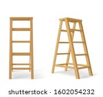 Wooden ladder, tall stair with stand for tray isolated on white background. Vector realistic brown stepladder, household equipment for electrical or repair works front and angle view - stock vector